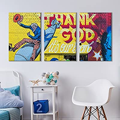 3 Panel Canvas Wall Art - Triptych Street Graffiti Series - Uncle Sam Nuke - Giclee Print Gallery Wrap Modern Home Art Ready to Hang - 16