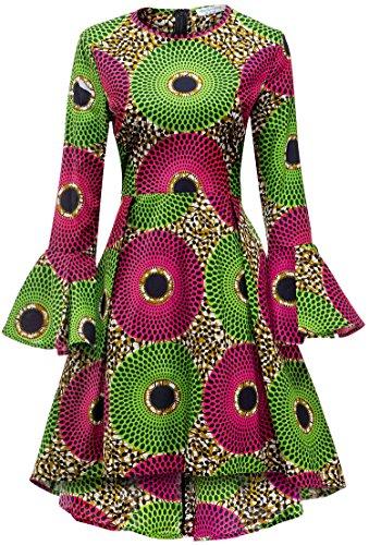 Shenbolen Women African Print Dresses Autumn and Winter Long Sleeves Ankara Dress(X-Large,Multicolored) (Best African Attire Dresses)