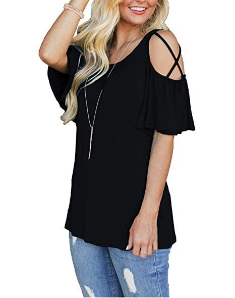 c68165d3782d4 MOLERANI Womens Casual Blouse Loose Strappy Cold Shoulder Tops Basic T  Shirts (S, Black