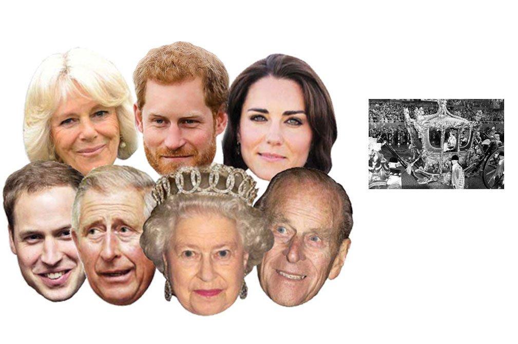Diamond Jubilee - Comprend une photo /étoile 15x10cm Famille Royale Britannique paquet de 7 Kate Middleton, Prince Willam, Prince Harry, The Queen, Prince Philip, Prince Charles, Camilla soixantenaire