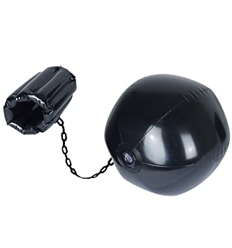 Inflatable Black Ball   Chain Leg Cuff Prisoner Convict Hen Stag Do Prop  Decoration  Amazon.co.uk  Toys   Games 80ebc39c4b4b