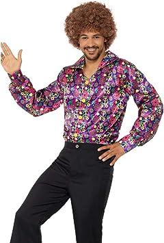 NET TOYS Colorida Camisa Hippie con símbolos de Paz | En Talla M (ES 48/50)