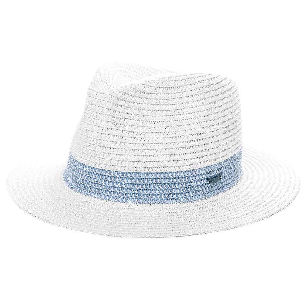 Jeff & Aimy Mens Womens Straw Fedora Trilby Sun Hats UPF Wide Brim Foldable Summer Panama Safari Beach Sunhats Adjustable Medium 56CM White