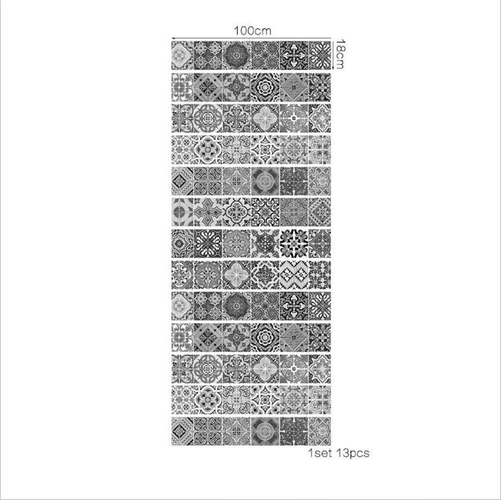 D/éCoration DEscalier Maison 18 /× 100Cm 13 Pcs Stickers Escalier Autocollants Muraux Noirs Et Blancs Autocollants De Bricolage Pour Sols Imperm/éAbles Autocollants