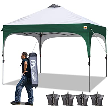 ABCCANOPY Pop-up Canopy Tent 10 x 10 Commercial Canopies Better Air Circulation Beach Canopy Tents with Wheeled Carry Bag, 4 x Ropes& 4 x Stakes, Bonus 4 Weight Bags, Forest Green with Gray