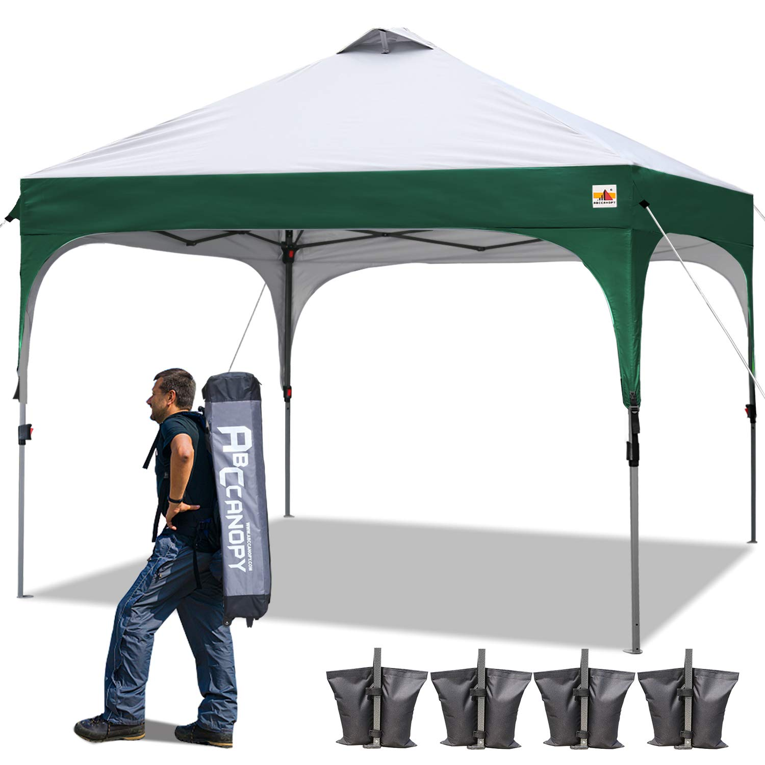 ABCCANOPY Pop Up Canopy Tent 10 x 10 Commercial Canopies Better Air Circulation Beach Canopy Tents with Wheeled Carry Bag, 4 x Ropes& 4 x Stakes, Bonus 4 Weight Bags, Forest Green with Gray