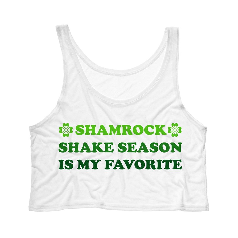 TeesAndTankYou Women's Shamrock Shake Season Is My Favorite Crop Tank Top