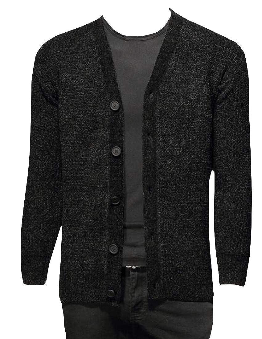 Pivaconis Mens Fashion V-Neck Button-Down Slim Fit Rib-Knit Outwear Cardigan Sweater
