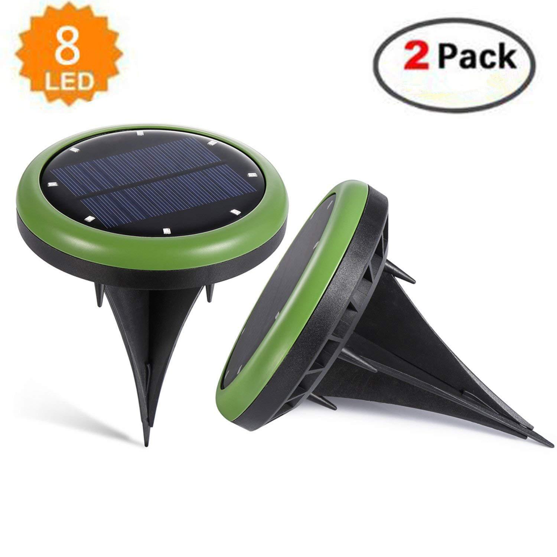 Solar Powered Ground Lights, 8 LED Outdoor Waterproof Sensor Lawn Light Landscape Spike Lighting for Backyard/Garden/Pathway Green 2 Pcs