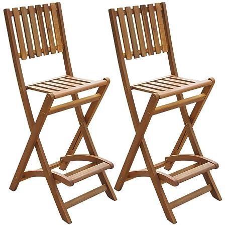 Vidaxl 2 Pcs Outdoor Folding Bar Chairs Garden High Seats Stools