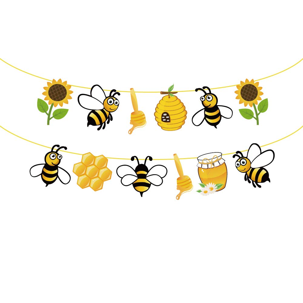 CC HOME Bumble Bee Birthday Banner Decorations,Honey Bee Garland Bunting Banner for Bumble Bee Theme 1st Birthday Party supplies,Sun flower Baby Shower Decorations,wedding bachelorette Party Favor