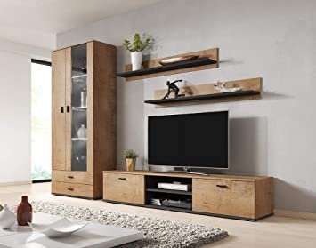 White MEBLE FURNITURE /& RUGS Hamburg Entertainment Center Wall Unit with LED Lights 70 TV Stand