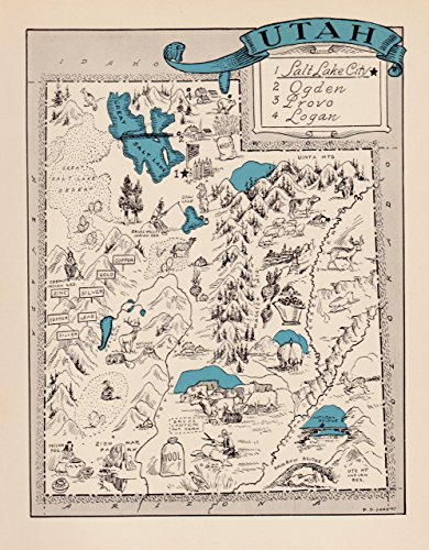 Cartoon Map - Vintage Utah State Map 1930s Blue Pictorial Cartoon Map of Utah Picture Map Print Blue Gallery Wall