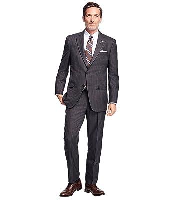 687b3e36e0ca38 Joseph Abboud Signature Super 120s Brown Striped Suit 40 Regular 40R Pants  34W at Amazon Men's Clothing store: