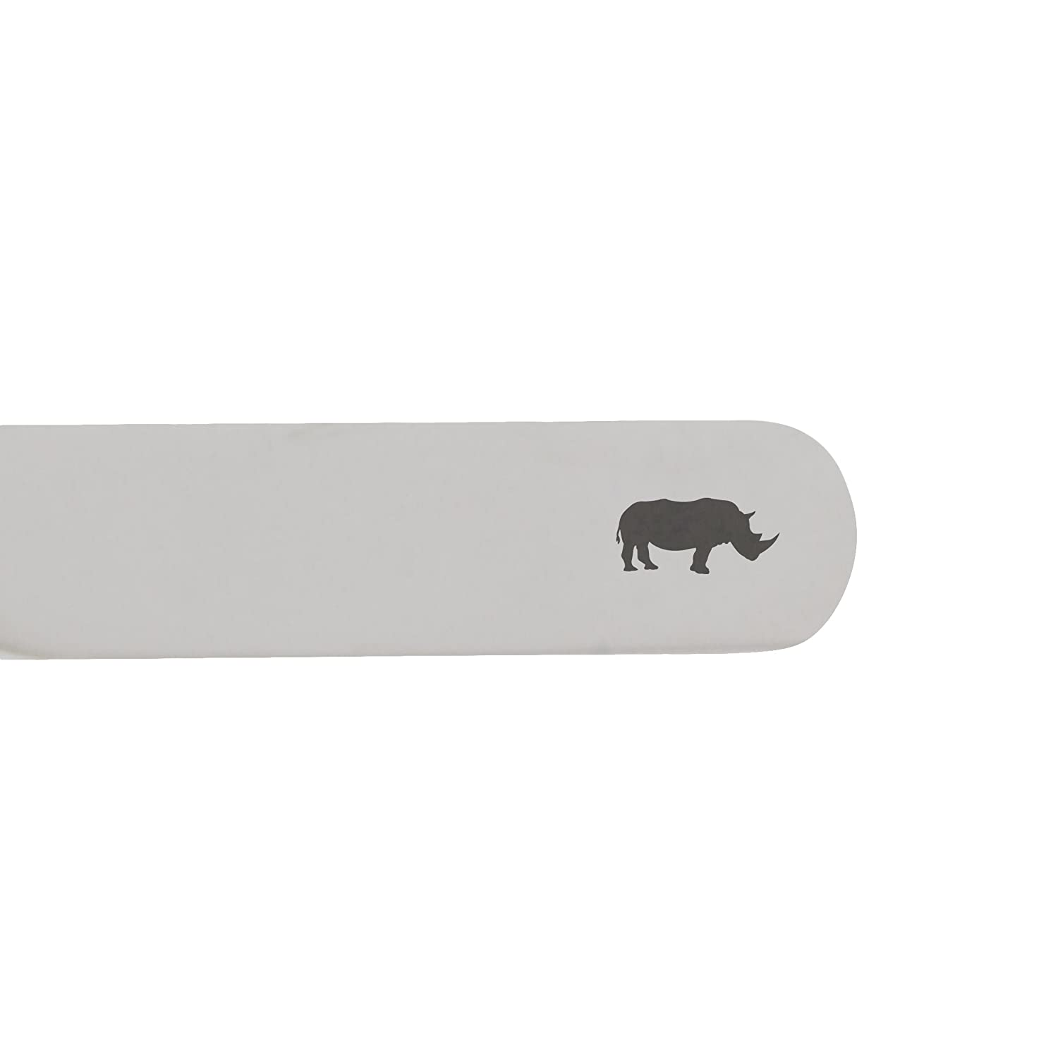 MODERN GOODS SHOP Stainless Steel Collar Stays With Laser Engraved Rhino Design 2.5 Inch Metal Collar Stiffeners Made In USA