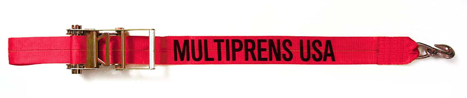 Multiprens 5944-30-RED Red Ratchet Strap 4 x30 with #416 Grab Hook Assembly-30ft