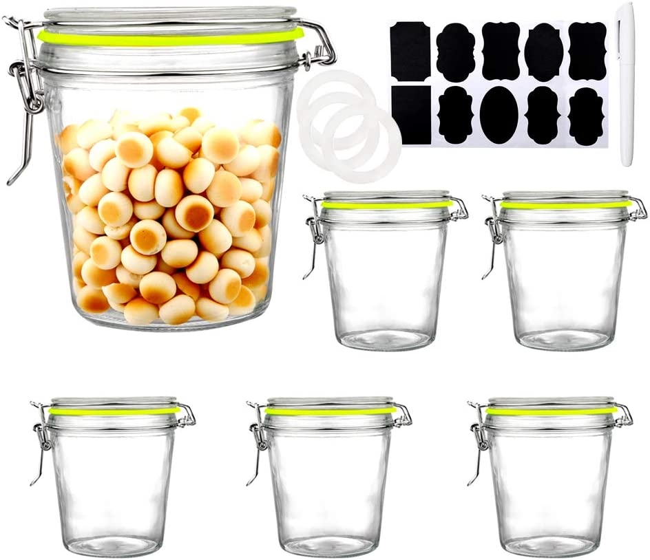 Qianfenie 20 oz 600ml Wide Mouth Airtight Glass Jars with Hinged Lids Glass Kitchen Canisters with Clamp Lid Durable Food Prep Glass Jars - 6 Pack
