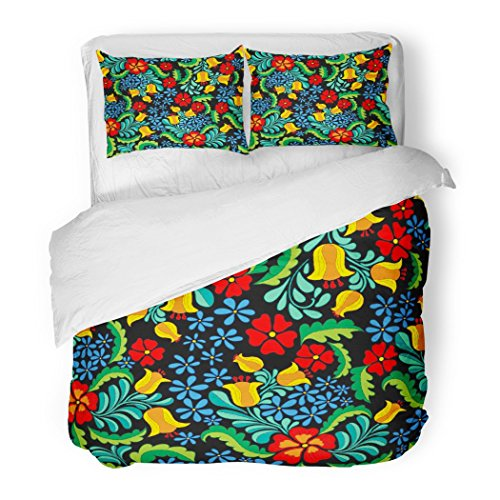 SanChic Duvet Cover Set Flower Ornate and Colorful Ethnic Pattern in Mexican Style Abstract Floral Folk Decorative Bedding Set with 2 Pillow Shams Full/Queen Size by SanChic