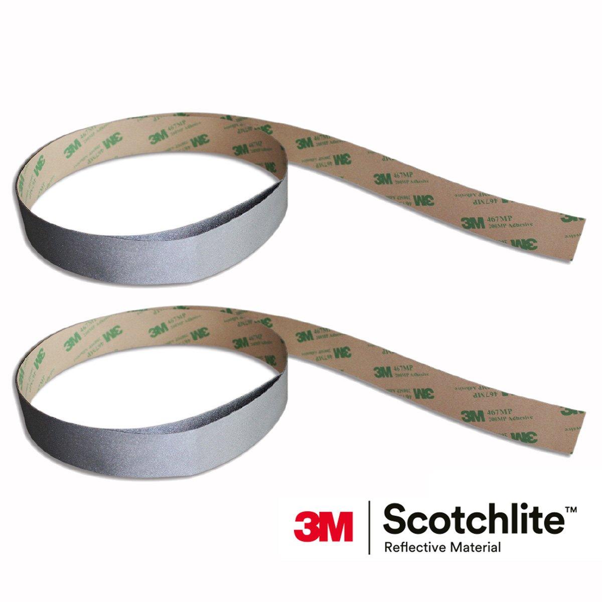 Salzmann 3M Scotchlite Reflective Sticker, High Visible Stickers, Silver, 1'' x 39'', 2 Rolls