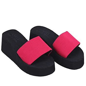 556a582bd319 Image Unavailable. Image not available for. Color  LANDUM Summer Soft Women Wedge  Sandals Thong Flip Flops Flat Platform Slippers Beach Red 37