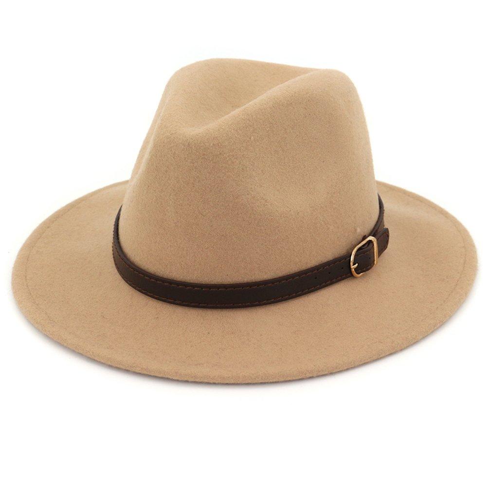 Lisianthus Women's 100% Wool Fedora Panama Hat Wide Brim with Belt Camel by Lisianthus