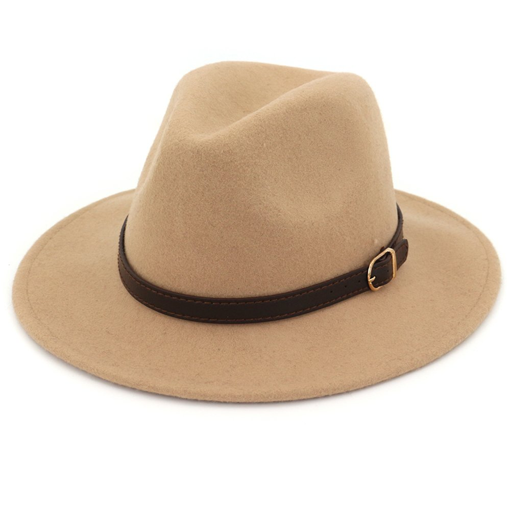 Lisianthus Women's 100% Wool Fedora Panama Hat Wide Brim with Belt Camel