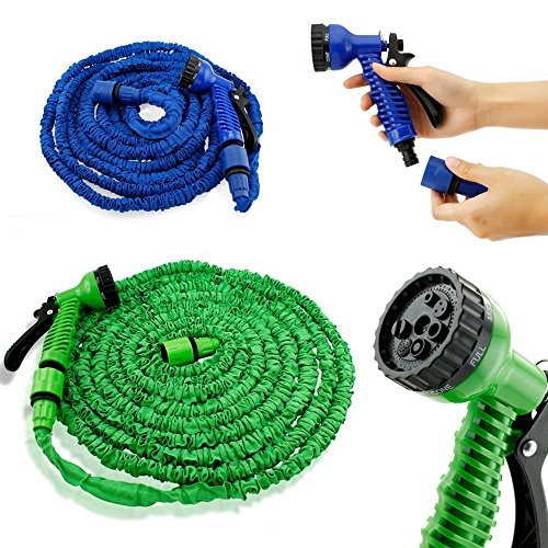 Deluxe 25 Feet Expandable Flexible Blue Garden Water Hose w/ Spray Nozzle TKT-11