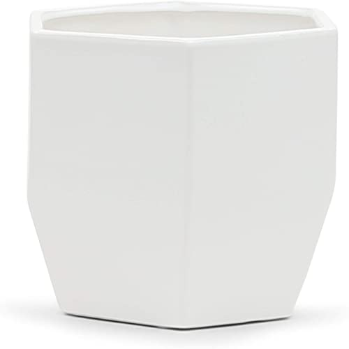 WGV Ceramic Vase, Width 6.3 Height 6 Matte White Origami Folded Geometric Trendy Unique Modern Container Planter Pot for Wedding Party Event Office Home Decor 1 Piece