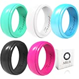 Arua Silicone Wedding Ring for Women 5-Pack | 5 Glossy Wedding Bands | Gift Box Included | Comfortable Rubber Rings for Active Ladies