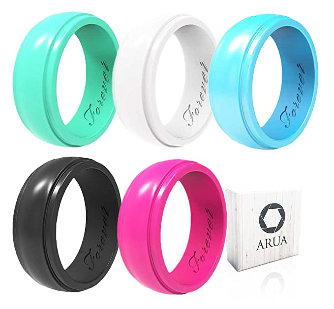 Silicone wedding rings in multiple colors