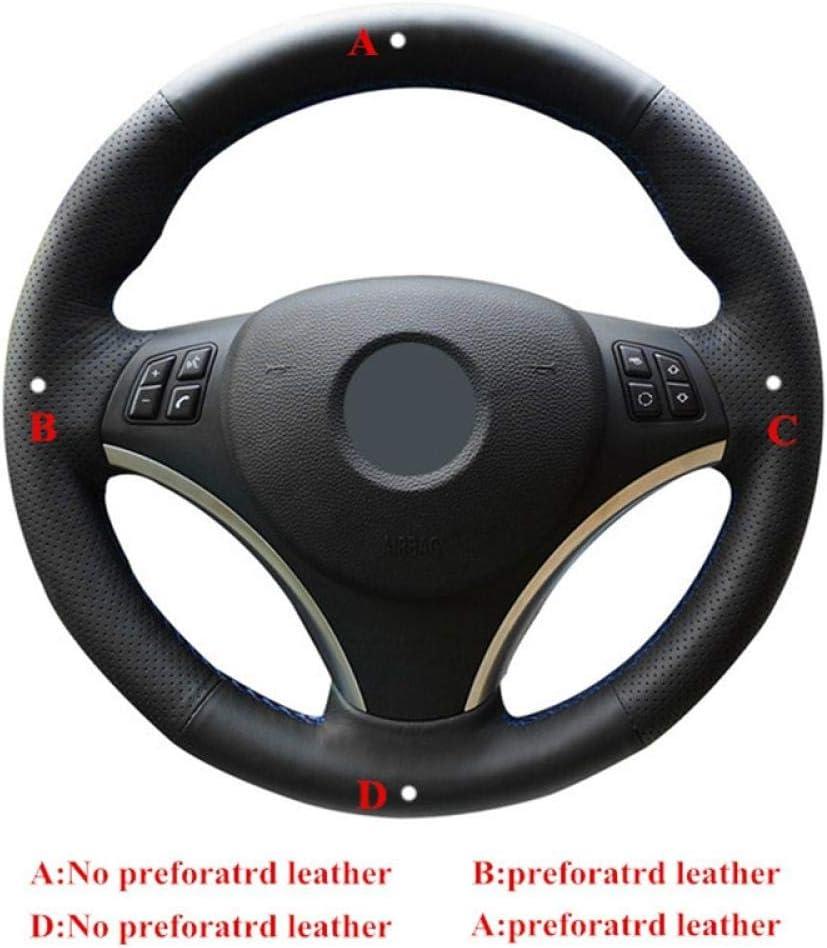 FANGPAN Housse de Volant,pour BMW E90 320 318i 320i 325i 330i 320d X1 328xi 2007 Couvre-Volant de Voiture en Cuir Artificiel Noir Cousu /à la Main Bricolage