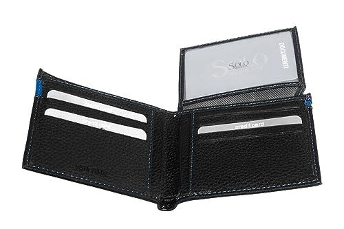 Cartera hombre SOLO SOPRANI negro cuero porta tarjetas credito con solapa A4514: Amazon.es: Zapatos y complementos