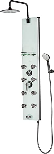 PULSE ShowerSpas 1030 Lahaina ShowerSpa Panel with 9.5 Rain Showerhead, 8 Dual-Function Body Spray Jets, 5-Function Hand Shower, Tub Spout and Glass Shelf, Soft-White with Silver Anodized Aluminum