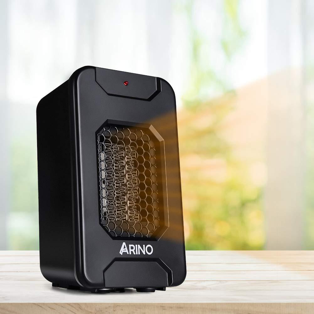Calefactor Portátil Eléctrico, ARINO Mini Ventilador Calefactor, Calentador de Ventilador Portátil 500 W,