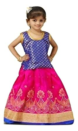 493481d88b197 Eazhil Fashions Girls - Pattu Pavadai Traditional South Indian Diwali  Navaratri Festival Dress (5-6 Years): Amazon.co.uk: Clothing