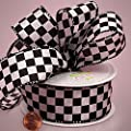 "1 1/2"" X 10yd White Checkered Fabric Ribbon"