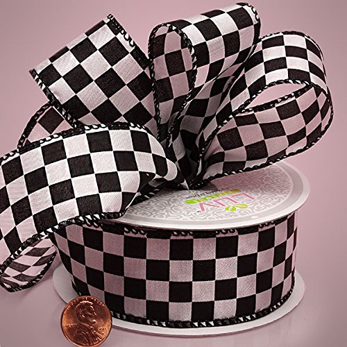 "Paper Mart 1 1/2"" X 10YD WHITE CHECKERED FABRIC RIBBON"