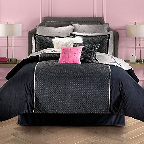 Juicy Couture Gilded Bedding Quilted Black Silk Velour Metallic Dots Collection Full/Queen 3 Piece Comforter Set