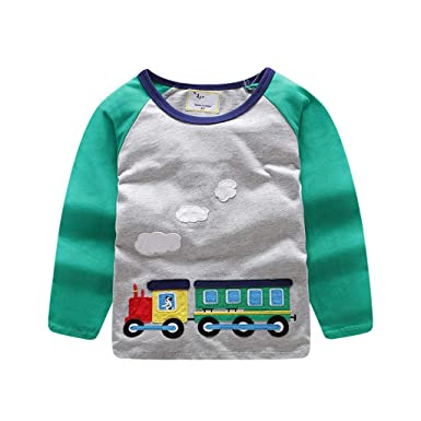 e2b971954 Cartoon Train Print Long Sleeve T-Shirt Blouse Tops Teen Kids Toddler Baby Girls  Boys