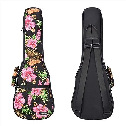 CLOUDMUSIC Hawaii Floral Ukulele Case 10mm Padded Ukulele Backpack Concert, Hawaii Hibiscus and Palm