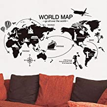 World Map English Letter Wall Sticker Decal Home Decor PVC Murals Wallpaper House Art Picture Living Room Adult Senior Teen Kids Baby Bedroom Decoration
