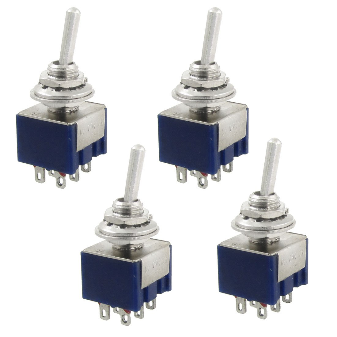 sourcingmap 4 piezas AC 125V 6A 6 terminales On/Off/On 3 Posició n Interruptor de palanca en miniatura DPDT a12040900ux0597