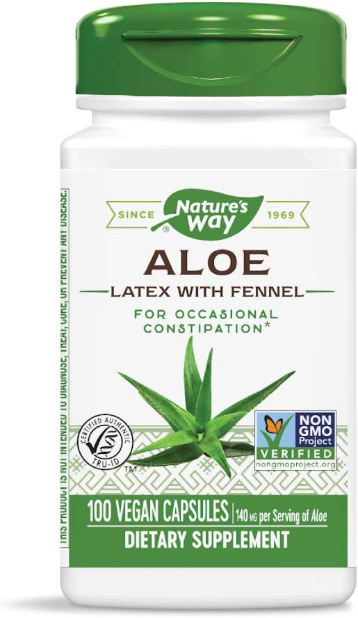 Natures Way Aloe Latex with Fennel 140 milligrams 100 Vegetarian Capsules. Pack of 6 bottles.