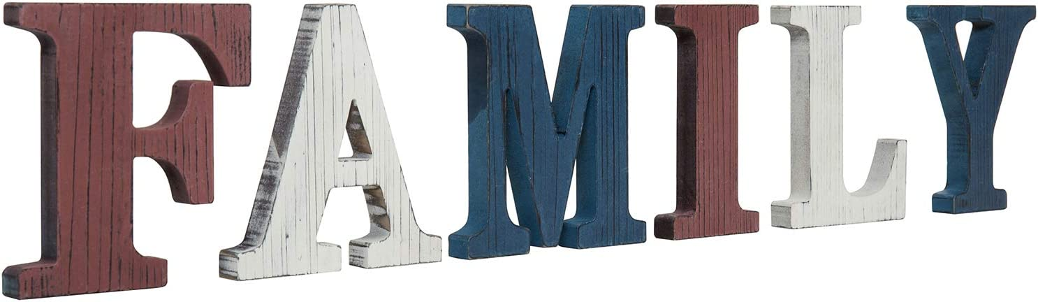 MyGift Patriotic Red, White & Blue Colored Decorative Rustic Wood Family Sign Block Letters/Wall Art