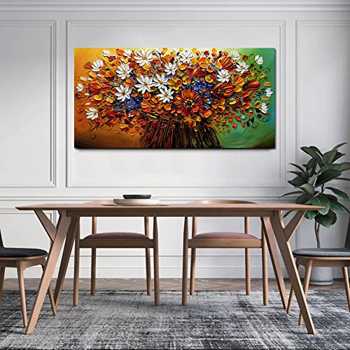 Yotree Paintings, 24x48 Inch Paintings Brilliant flowers Oil Hand Painting Painting 3D Hand-Painted On Canvas Abstract Artwork Art Wood Inside Framed Hanging Wall Decoration Abstract Painting by Yotree (Image #4)