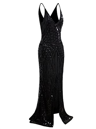 c60790f8d0c30 VIJIV Vintage 1920s Slip Prom Gown Sexy V Neck Sequin Mermaid Wedding  Dresses for Bride Black