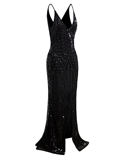 Black Flapper Dresses, 1920s Black Dresses Vijiv 1920s Long Slit Prom Dresses Deep V Neck Sequin Mermaid Bridesmaid Evening Dress $49.99 AT vintagedancer.com