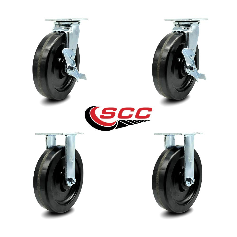 Service Caster - 8'' x 2'' Phenolic Wheels Caster Set of 4-2 Swivel Casters w/Brakes/2 Rigid