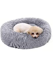 "Neekor Pet Bed - Luxury Shag Fuax Fur Donut Cuddler, Dog Cat Round Donut Luxury Cushion Bed, Self-Warming Cozy Joint-Relief and Improved Sleep, Machine Washable(Multiple Sizes) (19.7""x10.2"", Light gray)"