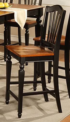 East West Furniture Chelsea Counter Stool Set of 2 Finish Black and Cherry